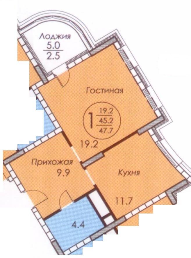 Корпус 15 Б,В_секция 1_1-комн_47,7
