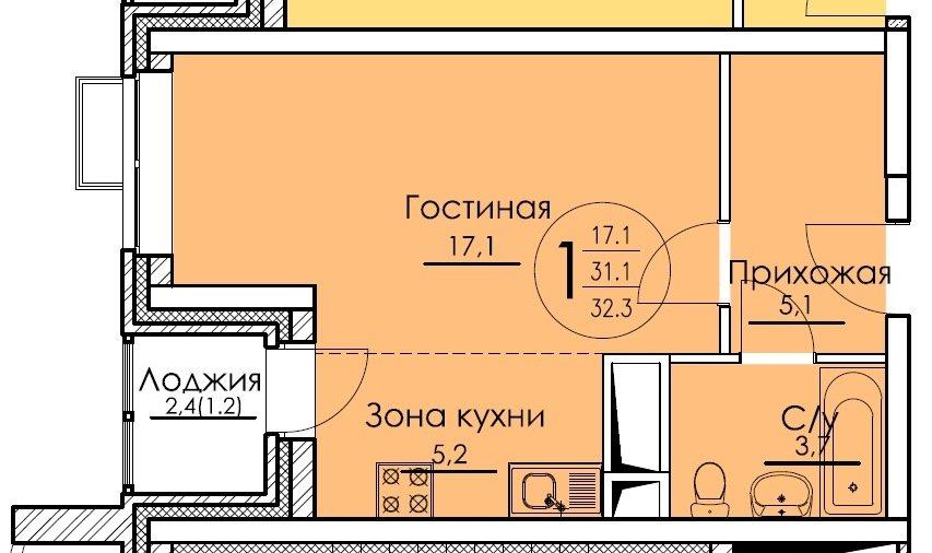 1-я секция_1-комн-студия_32,30_1-я