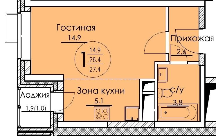 2-я секция_1-комн-студия_27,40_7-я